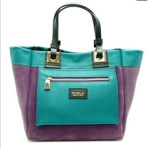 FURLA Convertible Purple Green Suede Leather Tote